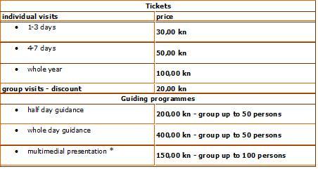 Entrance prices national park Velebit